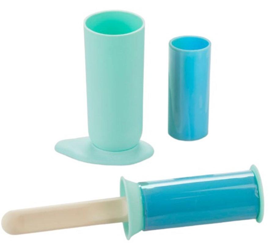 kledingroller 5,5 x 24 cm siliconen mintgroen/blauw 5-delig