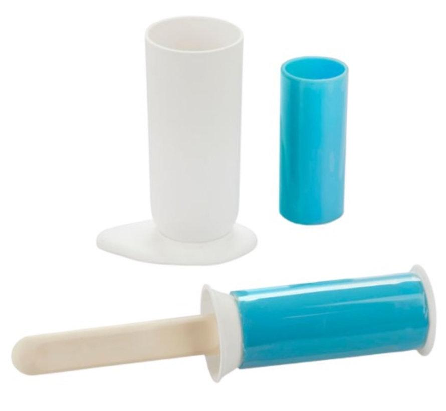 kledingroller 5,5 x 24 cm siliconen wit/blauw 5-delig