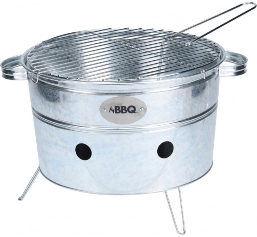 draagbare barbecue rond staal 38 x 20 cm