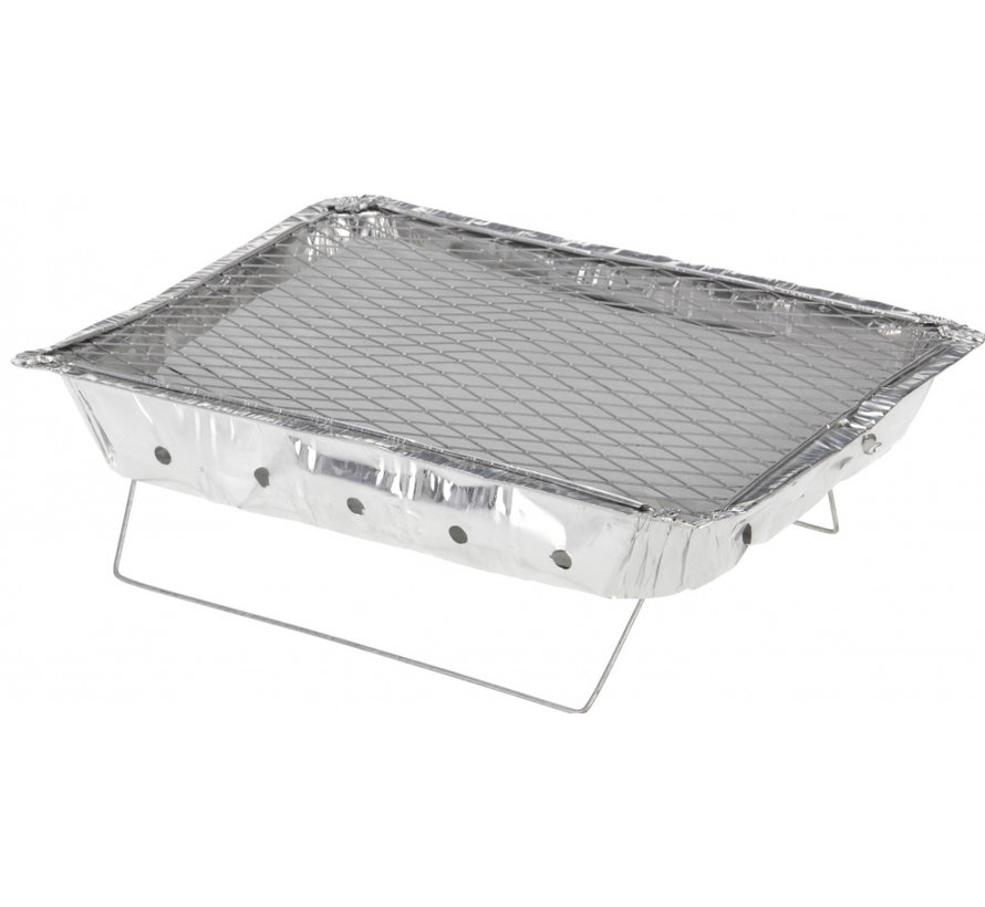 BBQ instant barbecue zilver aluminium 31 x 24 x 5 cm