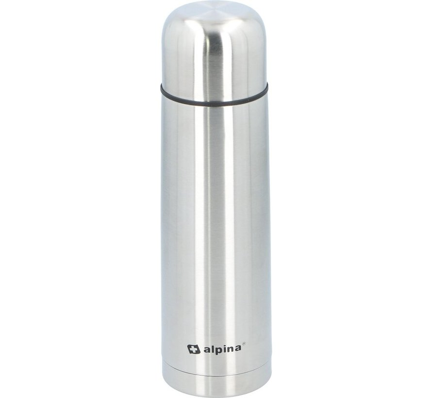 Alpina Thermosfles - Dubbelwandig - 750 ml - Incl. Beker - Roestvrij Staal