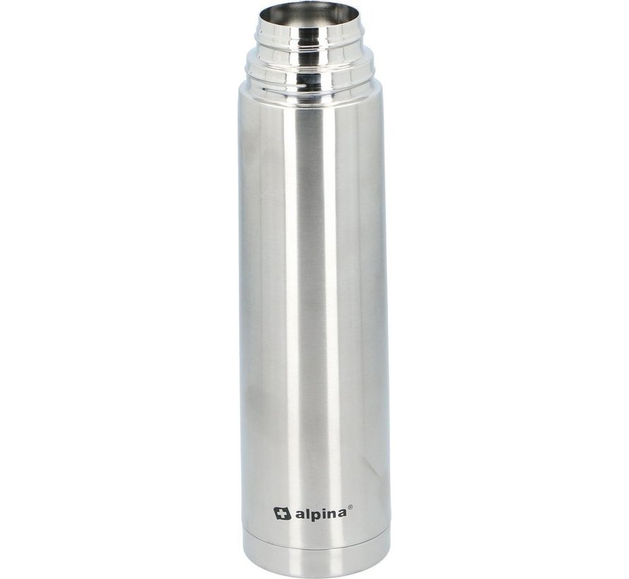 Alpina Thermosfles - Dubbelwandig - 1000 ml - Incl. Beker - Roestvrij Staal