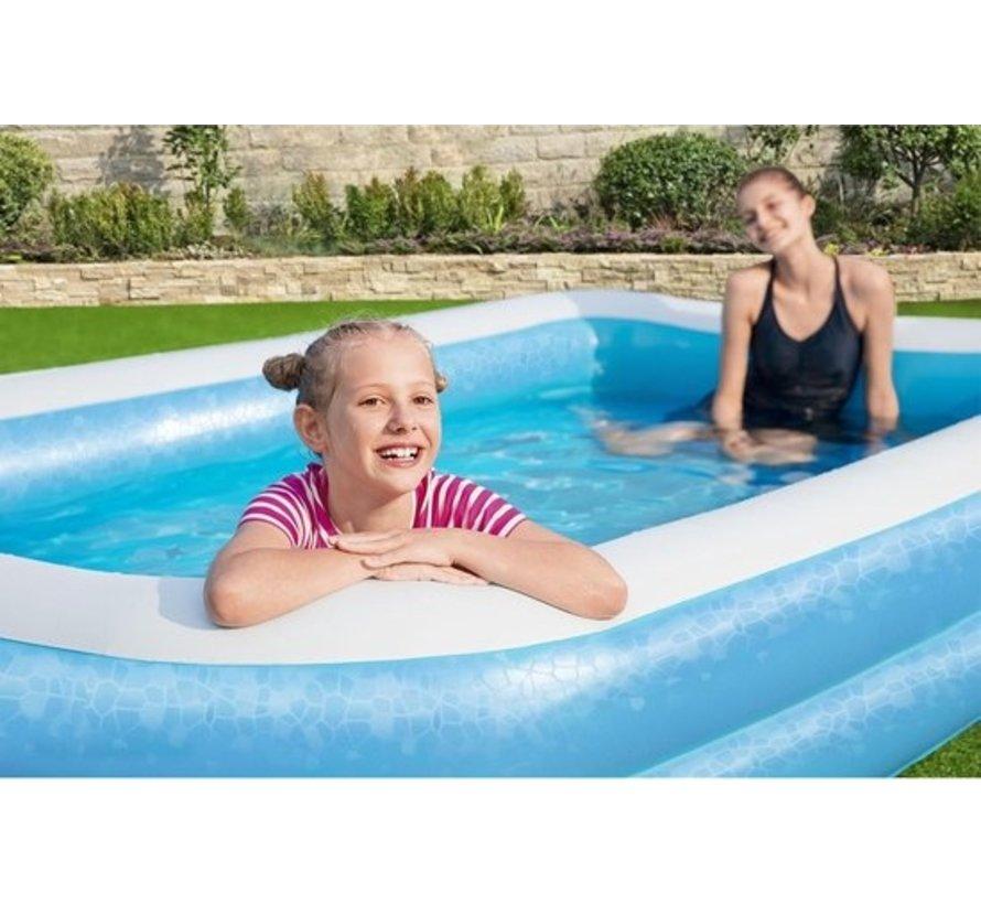 Bestway familie zwembad 54150 - opblaasbad - 305 x 183 x 46 cm - extra brede zijwanden - 3+