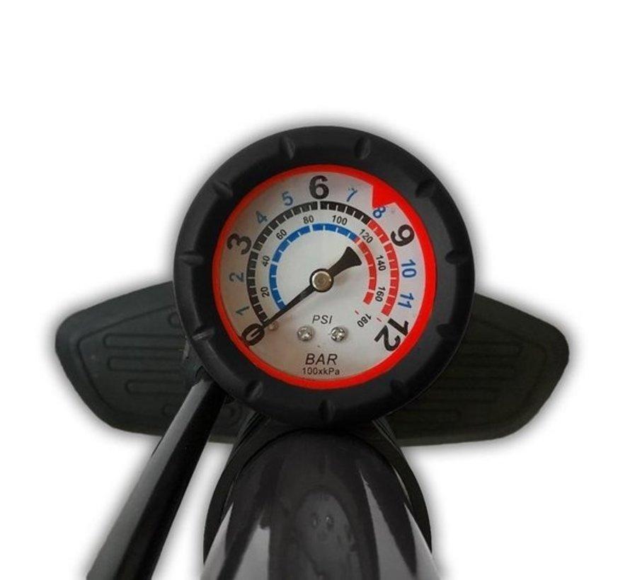 Dunlop Staande Fietspomp - Analoge Drukmeter - Dubbele Ventielkop - Zwart