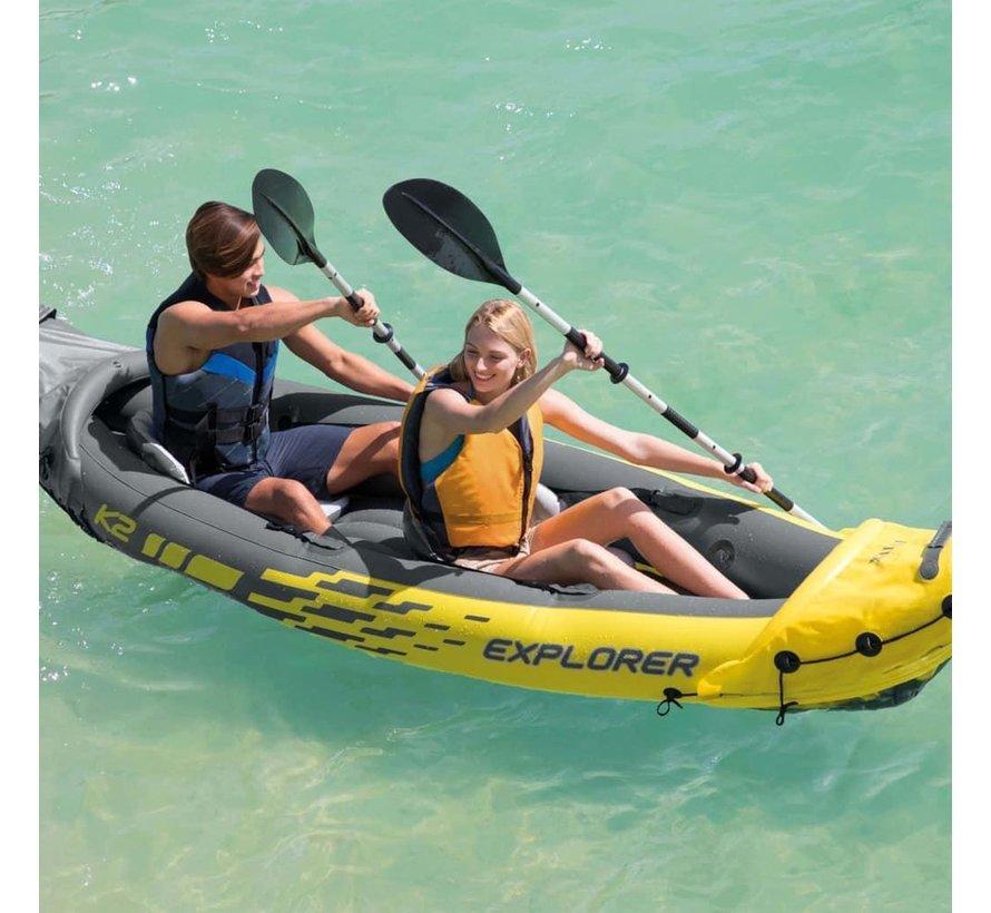 Intex explorer k2 kayak, boot 84 aluminum peddel 312x91 cm