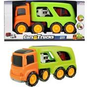 Speelgoed Toi-toys Truck Met 2 Hulpdienstvoertuigen 45 Cm Oranje/groen