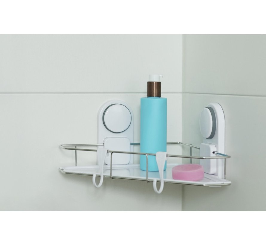 Alpina hoekrek - badkamer - bevestigen zonder boren - met 2 haken - wit
