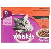 Whiskas 4x whis multipack pouch senior vlees selectie in saus