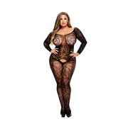 Baci Baci - Longsleeve Crotchless Bodystocking Queen Size