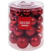 Christmas Decoration Kerstballenset - 44 stuks plastic - rood