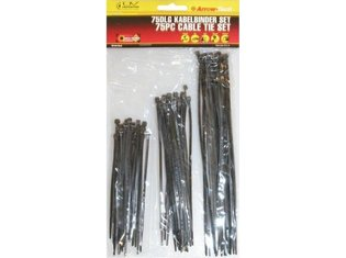 Tie wrap set 75 stuks zwart