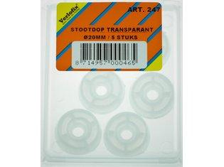 Stootdop, kunststof transparant schroefbaar ø20x10mm