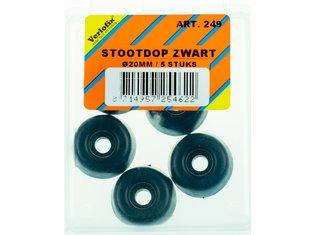 Stootdop, kunststof zwart schroefbaar ø20x10 mm