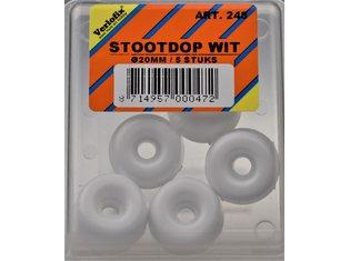 Stootdop, kunststof wit schroefbaar ø20x10 mm
