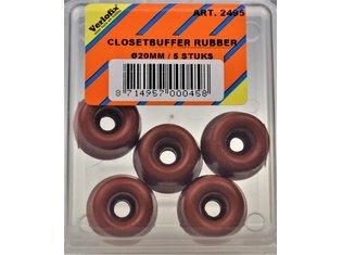 Stootdop, rubber steenrood schroefbaar ø20x10mm