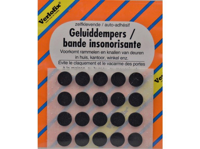 Verlofix Geluiddemper, zelfklevend zwart ø10mm - vel á 20st.