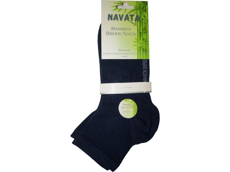 Navata Bamboo biker sock navy 2P 35-38