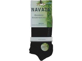 Bamboo short sock black 2P 35-38