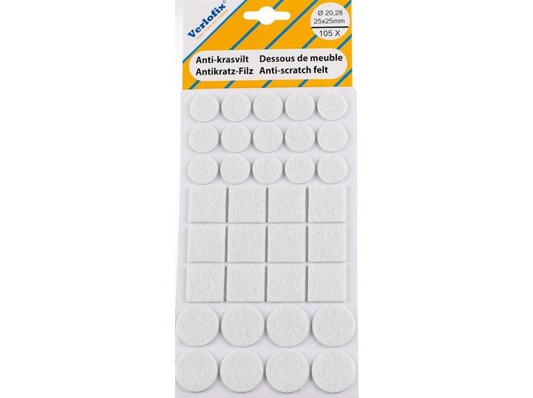 Verlofix Anti-krasvilt, zelfklevend wit assorti Ø20,28mm / 25x25mm