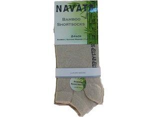 Bamboo short sock beige 2P 35-38