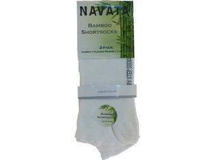 Bamboo short sock white 2P 35-38