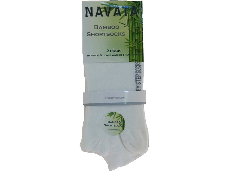 Navata Bamboo short sock white 2P 35-38