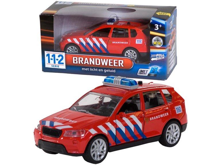 Speelgoed 112 Brandw.Auto+licht/gel.1:43