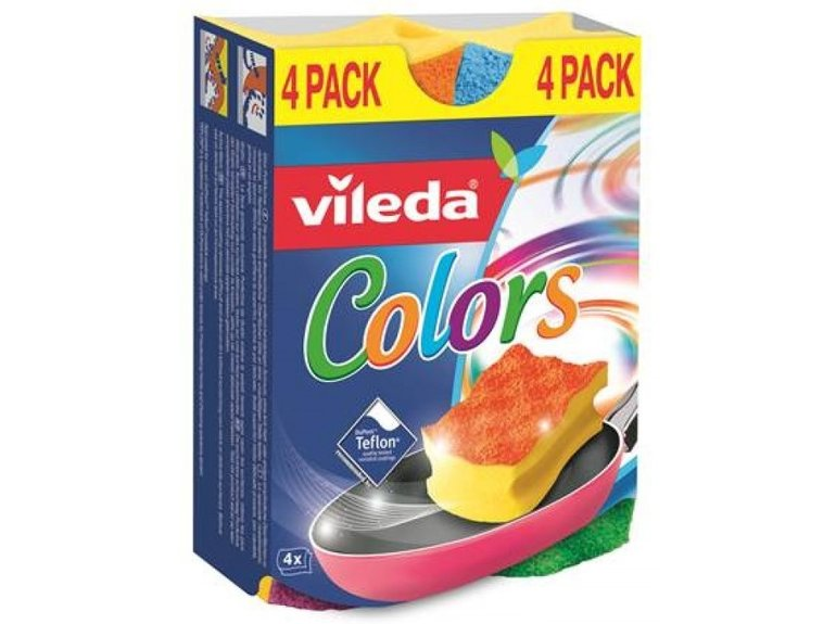 Vileda Schuurspons PUR ACTIVE Colors 4-pack