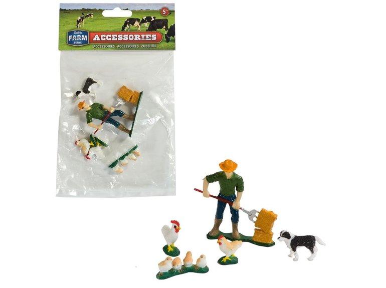 Speelgoed Dutch Farm Serie Boer met boerderijdieren 5dlg