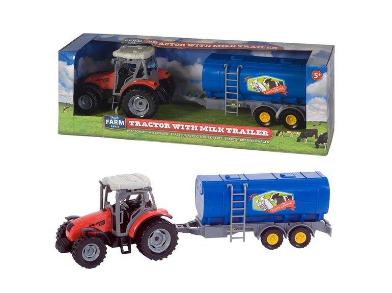 Speelgoed Dutch Farm Serie Tractor rood + Trailer 1:32