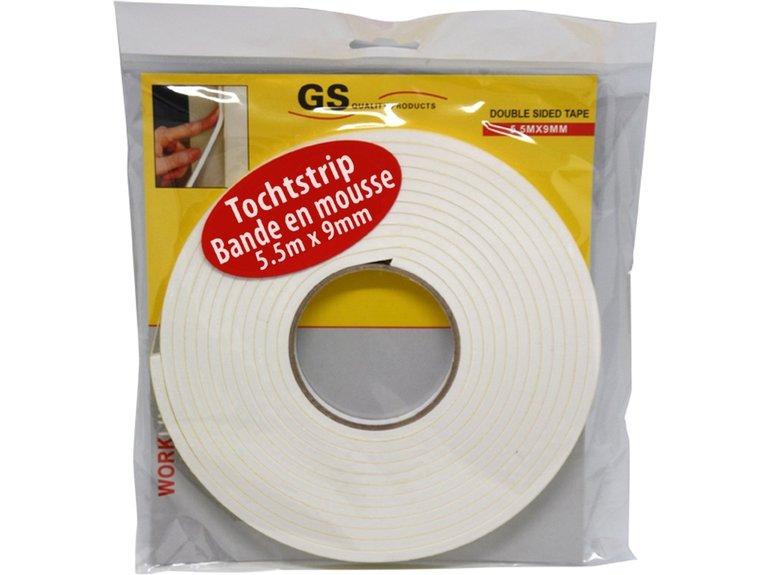 GS Tochtstrip foam 9mm x 5,5mtr zelfkl