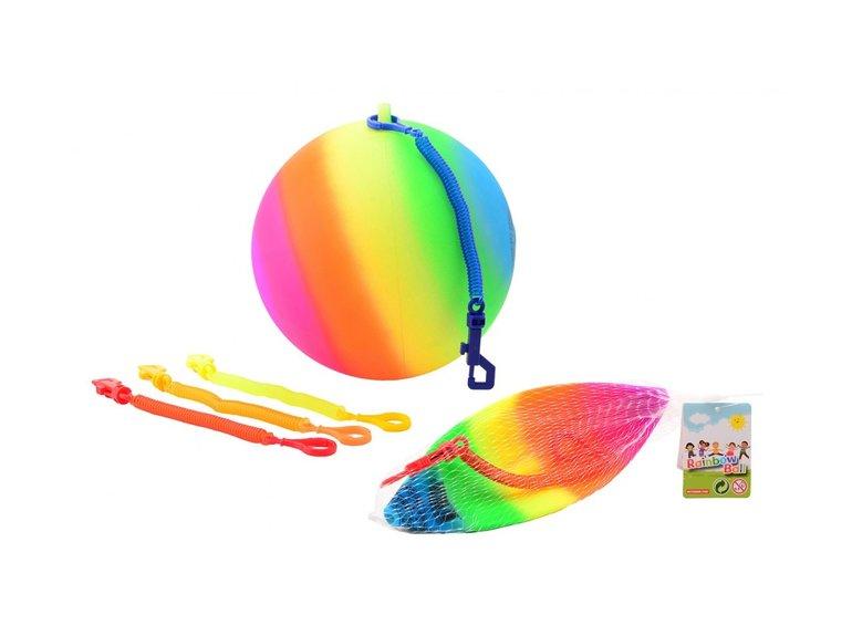 Speelgoed Regenboogbal maat 5 met koord
