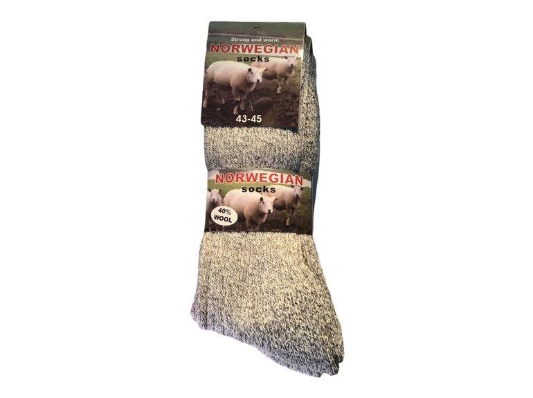 Noorse wintersok licht grijs 43/45 3-Pack