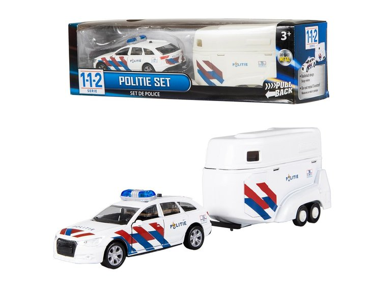 Speelgoed 112 Politieauto + Paardentrailer 1:43 + licht/gel.
