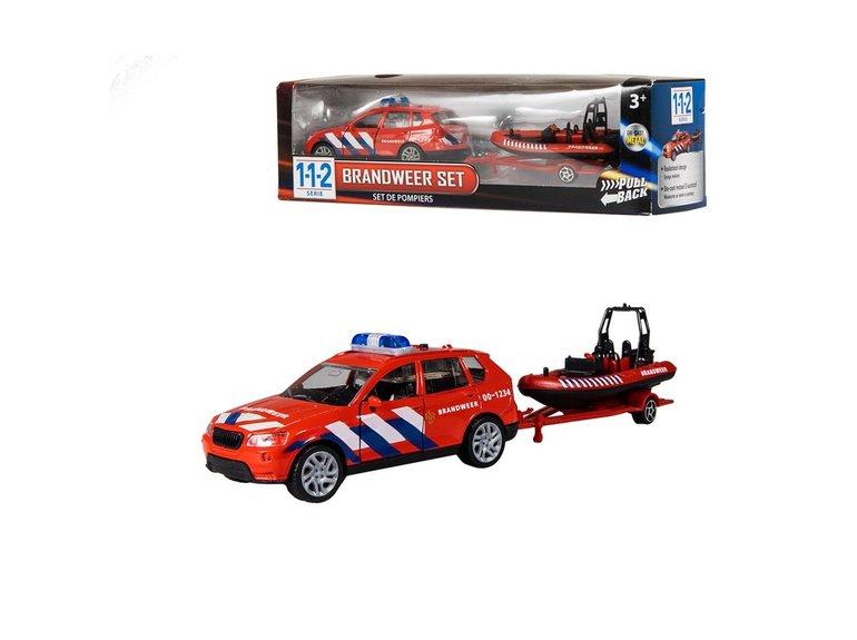 Speelgoed 112 Brandweerauto + Boot 1:43 + licht/geluid