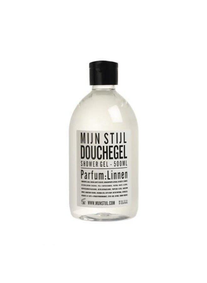 Douchegel parfum linnen 500 ml wit zwart etiket