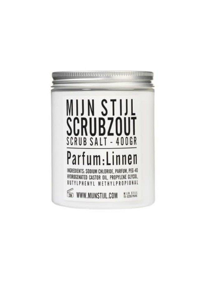 Scrubzout parfum Linnen wit/zwart etiket