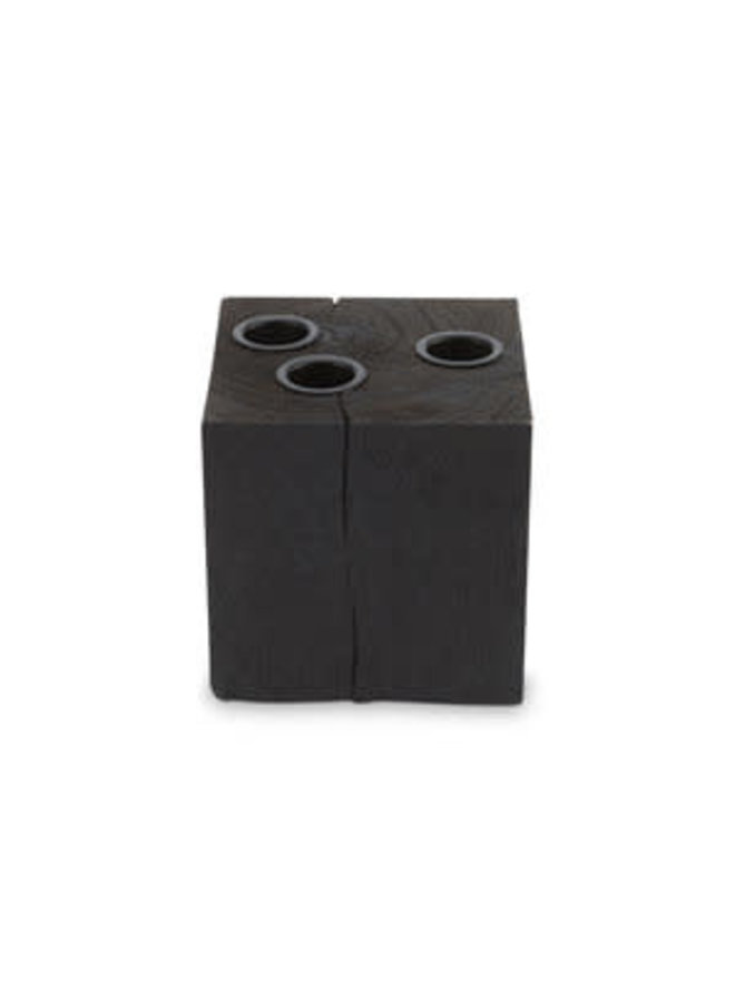 Candle Block Square Reversable Wood Black 10x10x10cm