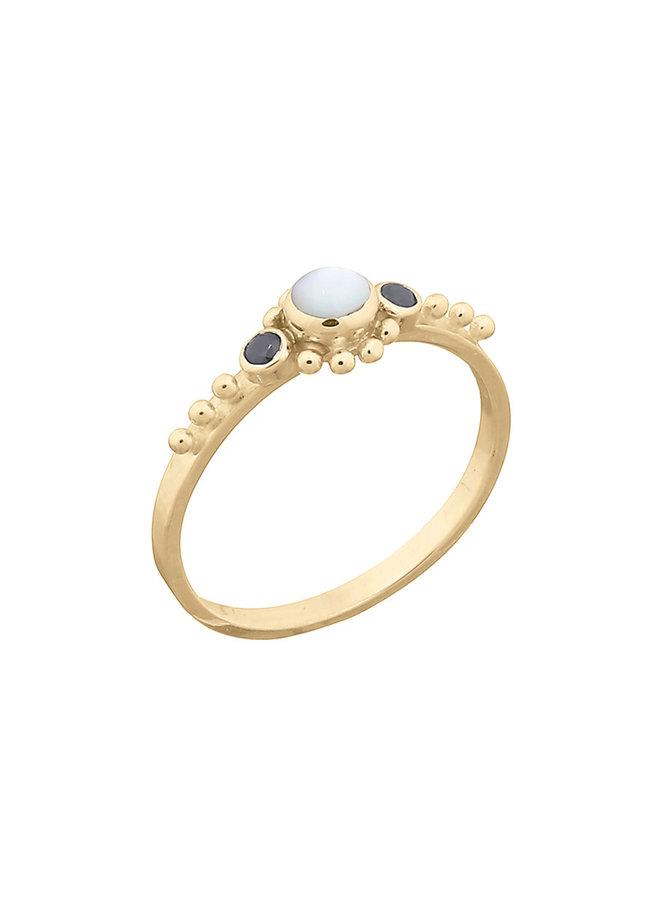 Ring goud - black pearl M/17 mm