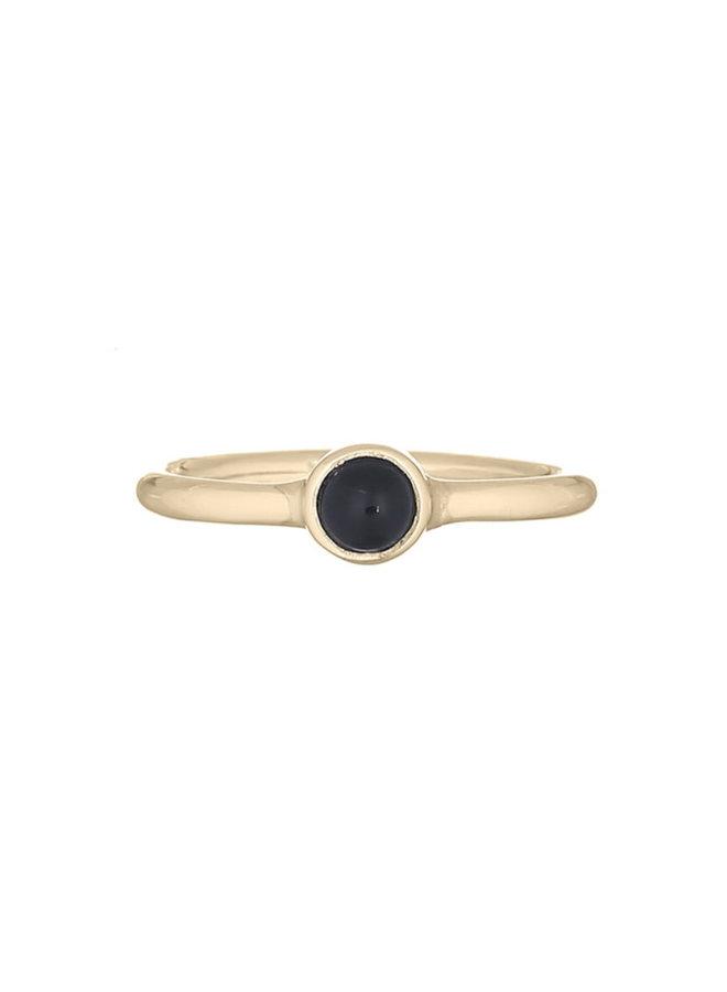 Ring goud black stone S/16 mm