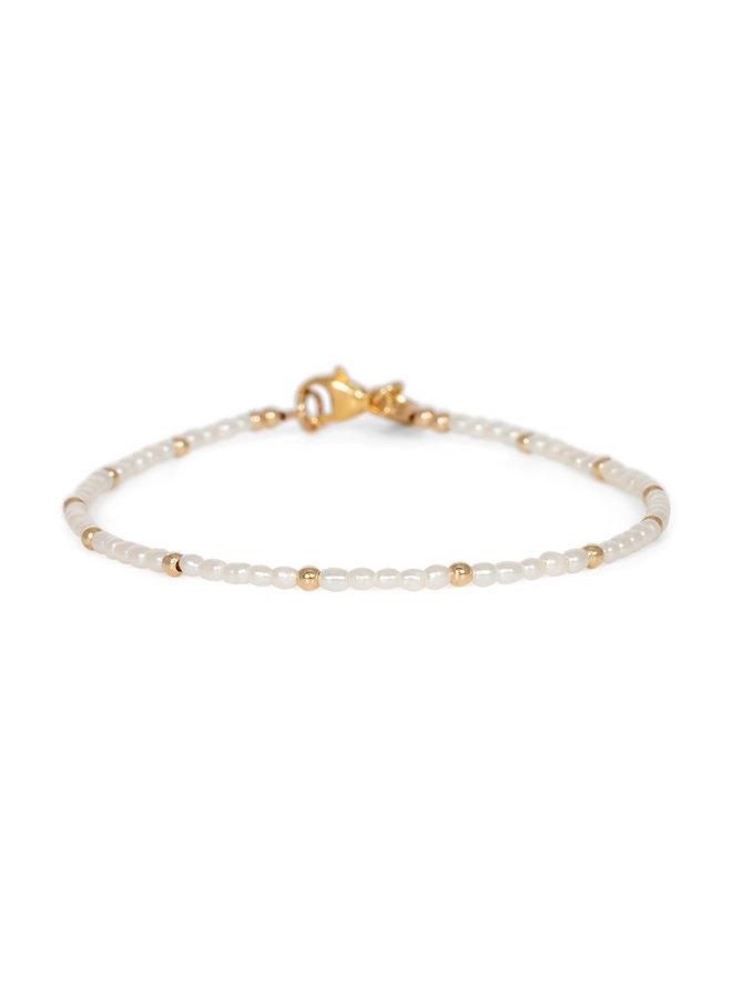 Armband goud- mini Pearl  17cm