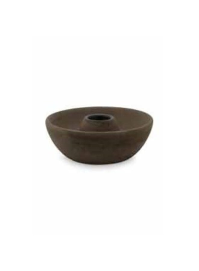Candle Holder Round Brown with Black Cup 10cm