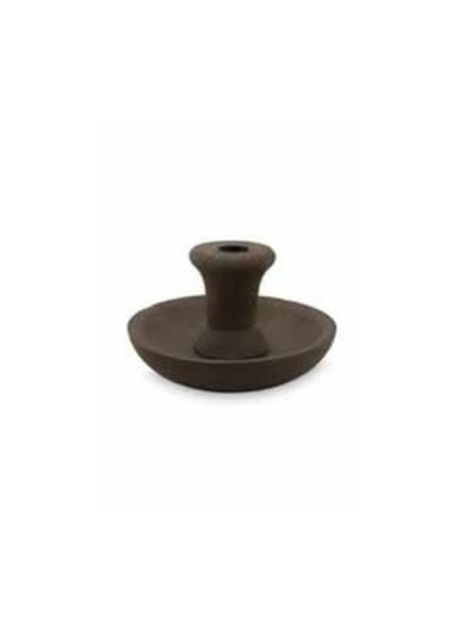 Candle Holder Round Brown with Black Cup 16cm