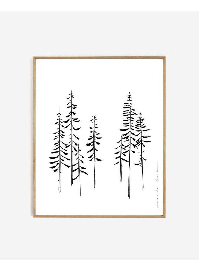Line art | pines | 40x50 cm zonder lijst
