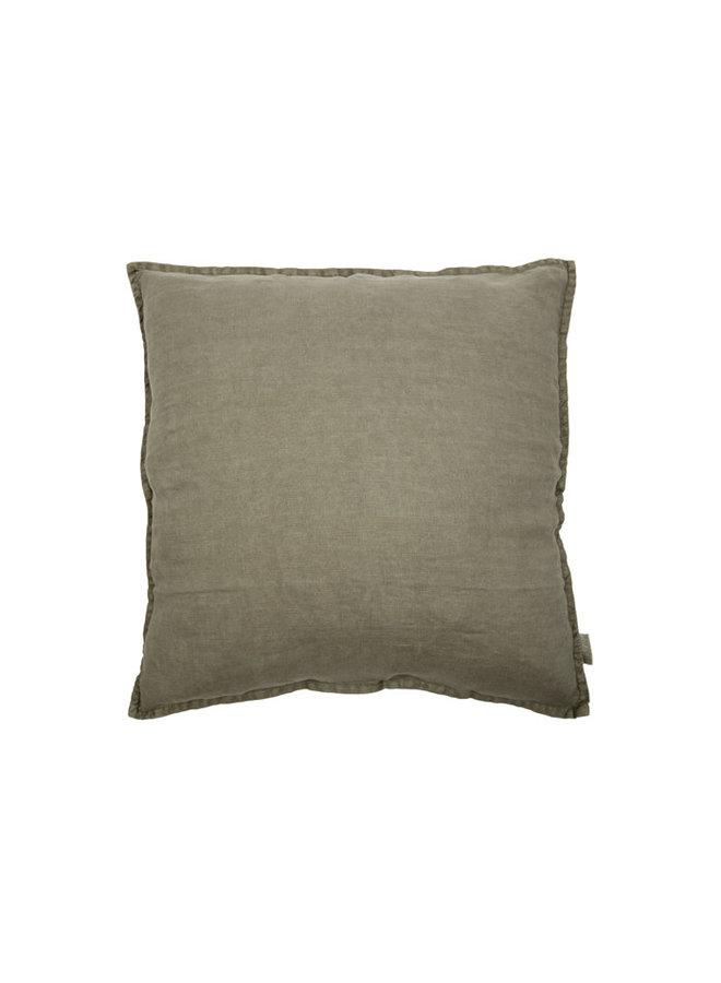 Vintage Linen Cushion olive grey 60x60