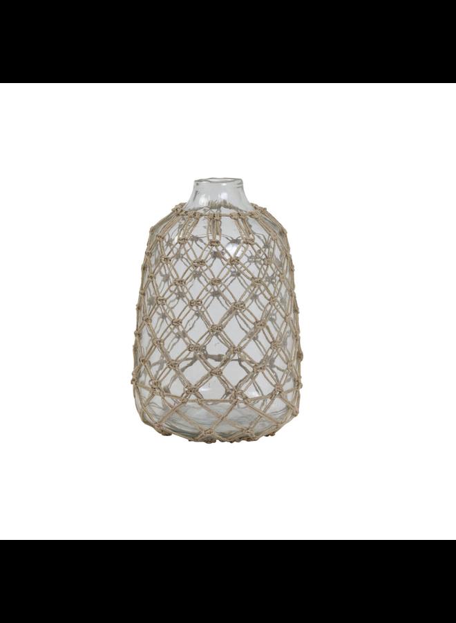 Vaas Ø21x31 cm NARONA glas helder+jute