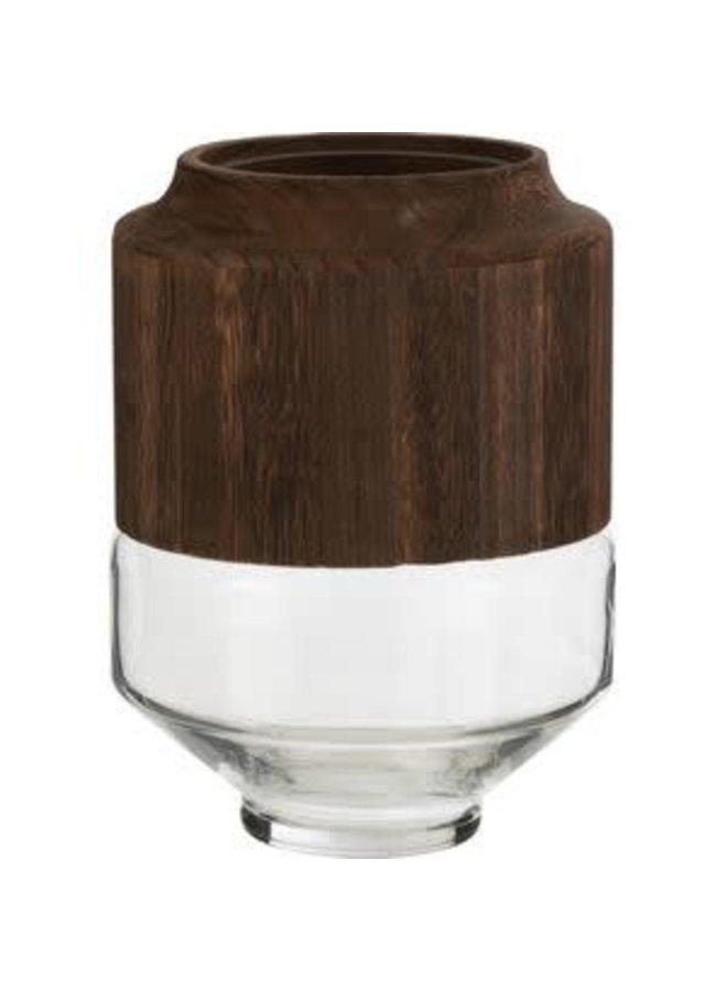Vaas rond hoog hout bruin/glas