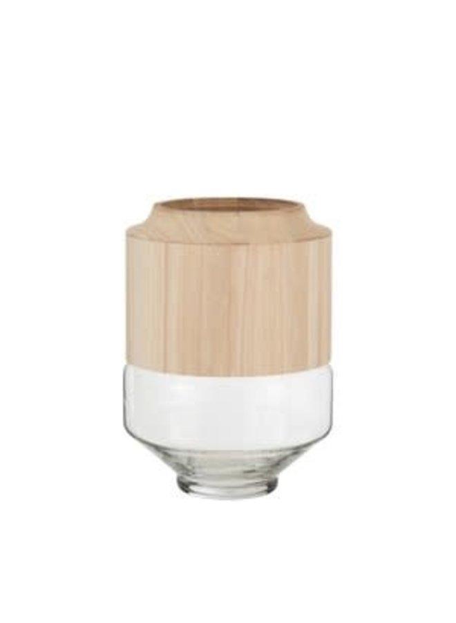 Vaas rond hoog hout/glas