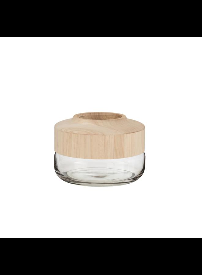Vaas breed laag hout/glas