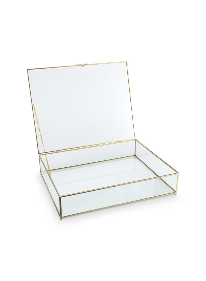 Storage Box Glass with Metal Golden Frame